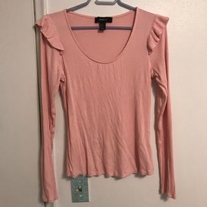 Pink ruffle long sleeve ribbed top Forever 21